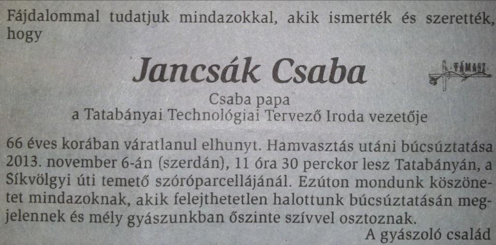 Jancsák Csaba gyászjelentés