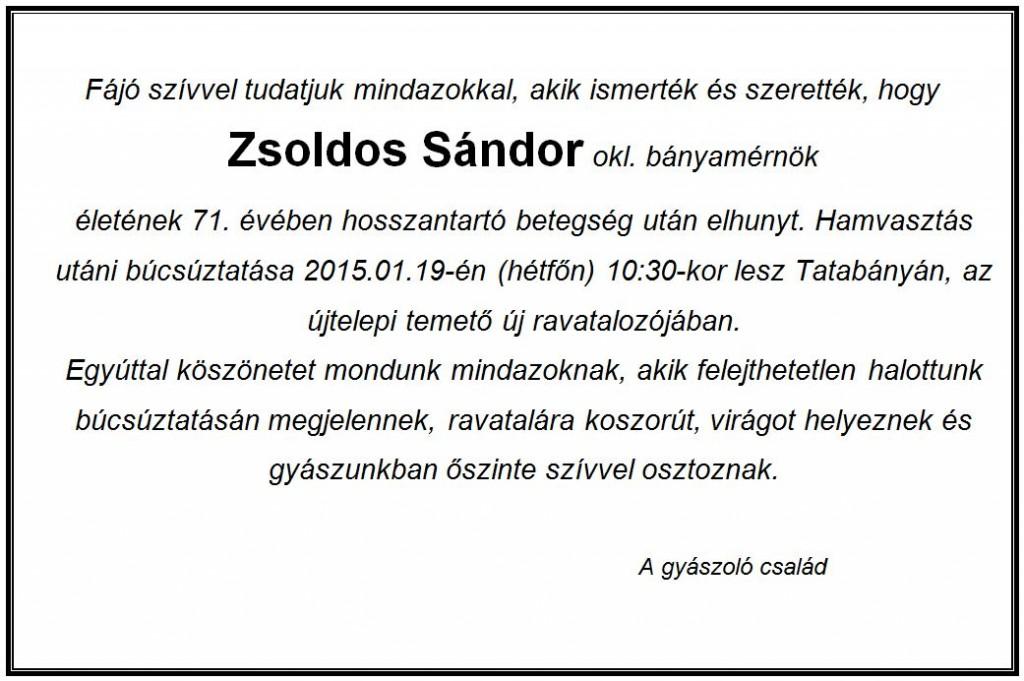 Zsoldos Sándor gyászjelentés