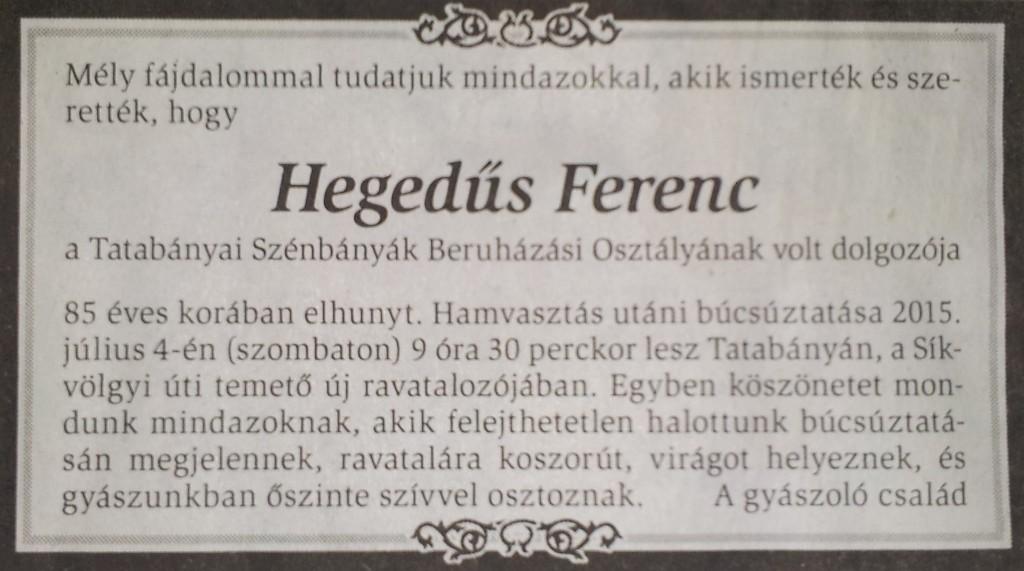 Hegedűs Ferenc gyászjelentés